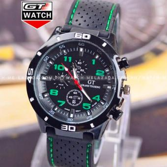 GT Men's Sports Racing Chronograph Style Black Silicone Strap Watch (Green)