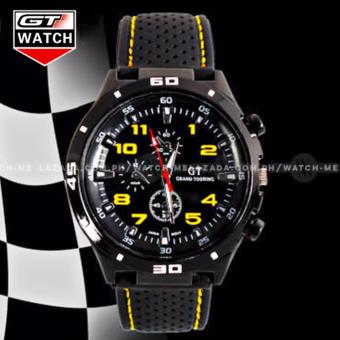 GT Men's Sports Racing Chronograph Style Black Silicone Strap Watch (Yellow)