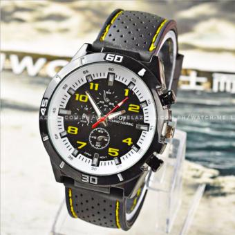 GT Men's Sports Racing White Rim Chronograph Style Black Silicone Strap Watch (Yellow) - 2
