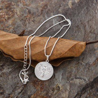 Guardian Angel Letters Round Pandent Necklace Silver
