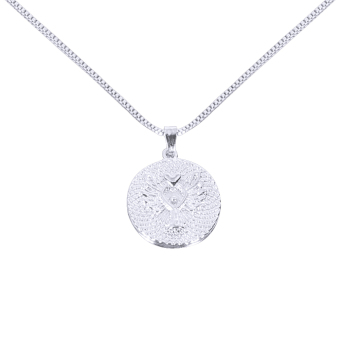 Guardian Angel Letters Round Pandent Necklace Silver - picture 2