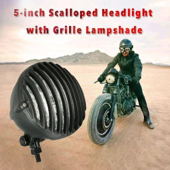 H4 12V 55W 5-inch Motorcycle Scalloped Headlight with GrilleLampshade for or Harley Chopper Bobber Black - intl
