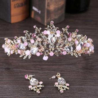 Handmade Gold Tiaras for Wedding Pink Crystal Bride HeadpieceBridal Hair Accessories Jewelry Tiaras Set for Brides - intl Price Philippines