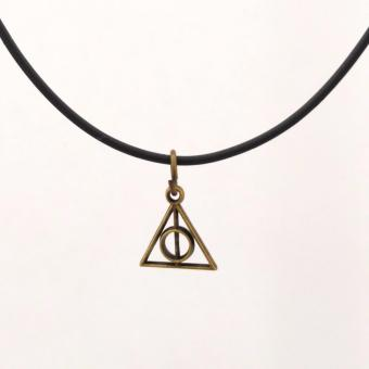 Handmade HP Harry Potter Mini Deathly Hallows Charm Choker Necklace (Antique Gold)