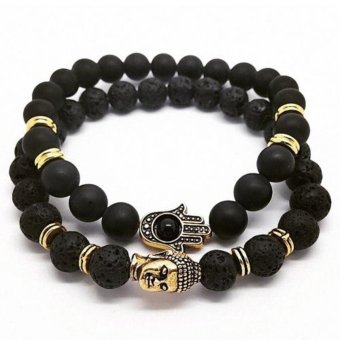 Handmade Lava Stone Matte Onyx Buddha & Hamsa Men's Yoga Beaded Energy Bracelet Black and Gold - intl