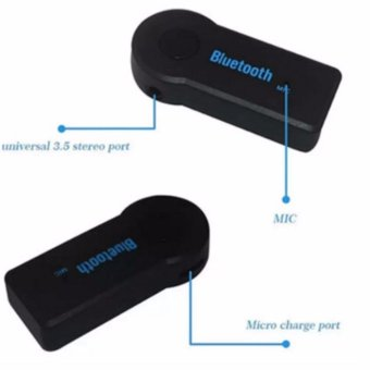 Hands-Free 3.5 mm Car Bluetooth Wireless Music Receiver with Mic& Stereo Output - 3