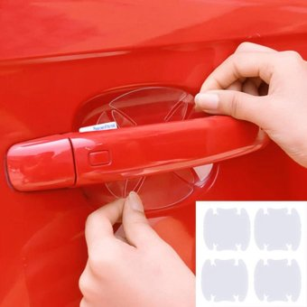 Hang-Qiao 4Pcs Vinyl Stickers Universal Door Handle Bowl Protective Film (Transparent) - intl