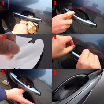 Hang-Qiao 4Pcs Vinyl Stickers Universal Door Handle Bowl Protective Film (Transparent) - intl - 2