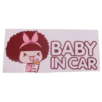 Hang-Qiao Cute Baby in Car Safety Auto Car Vinyl Decor Brown