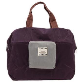 Hang-Qiao Folding Handbag Storage Shoulder Totes Travel Bag Pouch Purple