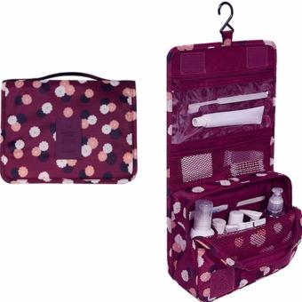 Hanging Toiletry Cosmetic Pouch Travel Bag Organizer (Daisy Maroon)