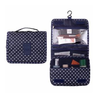 Hanging Toiletry Cosmetic Pouch Travel Bag Organizer (Navy Polka Dot)