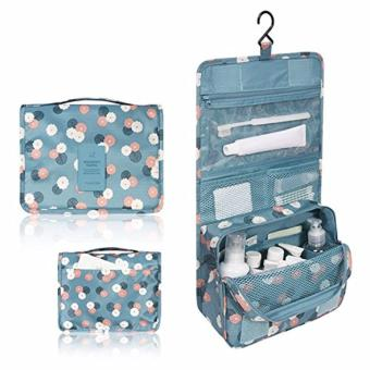 Hanging Toiletry Cosmetic Pouch Travel Bag Organizer (Navy Polka Dot) - 3