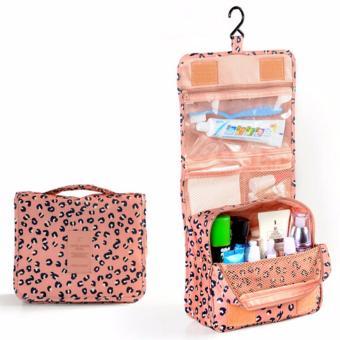 Hanging Toiletry Cosmetic Pouch Travel Bag Organizer (Peach Pink Leopard)