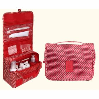 Hanging Toiletry Cosmetic Pouch Travel Bag Organizer (Red)