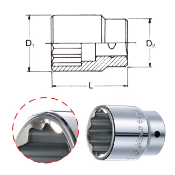 """Hans Tools 6402M-25mm 3/4"""" Drive 12 Points Socket (Silver) - picture 2"""
