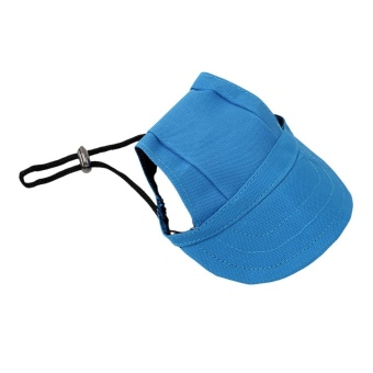 Hanyu Pet Baseball Cap Pet Dog Canvas Hat with Ear Holes Outdoor Hat Accessories S(Blue) - intl