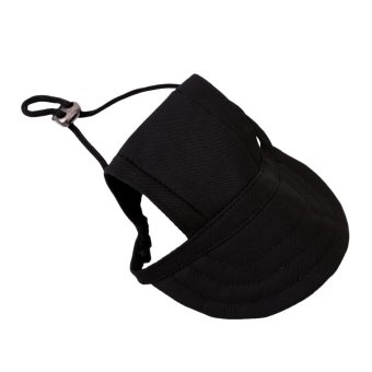 Hanyu Pet Baseball Cap Pet Dog Canvas Hat with Ear Holes OutdoorHat Accessories M(Black) - intl