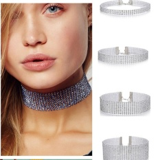 (HAPPY)Women's Europe and America Hot Sexy Fully-jewelled Necklace Alloy Choker Transparent