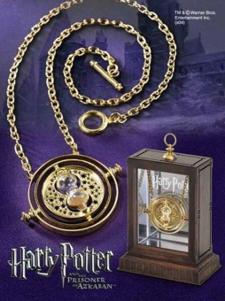 Harry Potter Time Turner Necklace Hermione Granger Rotating SpinsGold Hourglass Gold&Yellow - 3