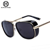 HAWAII IRON MAN 3 Matsuda TONY Steampunk Sunglasses Men Mirrored Designer Brand Glasses Vintage Sun glasses (Black)