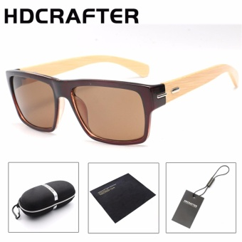 HDCRAFTER square polarized vintage bamboo wood Sunglasses branddesigner fashion shades Mirror sun glasses for women men - intl