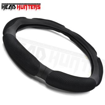 Head Hunter Sandwich Sport Type Steering Wheel Cover - Anti-SlipNylon and Cotton Car Steering Wheel Cover (Black)