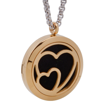 Heart Essential Oil Diffuser Necklace Young Living Aromatherapy Gold - intl