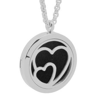 Heart Essential Oil Diffuser Necklace Young Living Aromatherapy Silver - intl