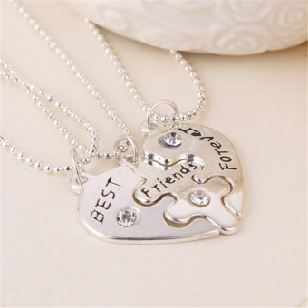 Heart Shape Sterling Silver Initial Best Friend Forever Necklace Friendship Jewelry 3pcs/pack - intl