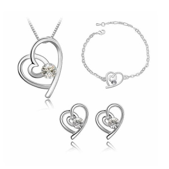 Heart Zircon Necklace+Bracelet+Earrings Jewelry Set For Women Gift - intl
