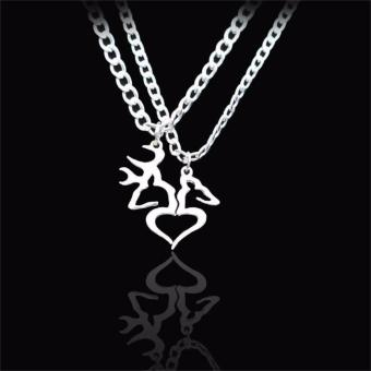 Hequ Couples Heart Love Necklaces 2Pcs set For Men and Women Silver Elk Plated necklaces - intl