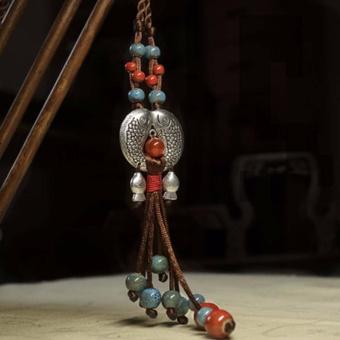 Hequ Ethnic style Jewelry Tibetan silver fish ceramics Semi precious stones Long necklace Cotton clothes Sweater chain - intl - 4