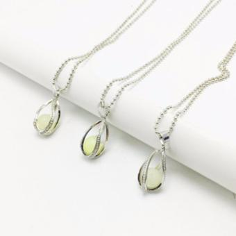 Hequ European Atlantis Silver Glow In Dark Locket Pierced HollowWater Drop Pendant Luminous Statement Chocker Necklace - intl - 2