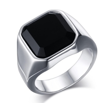 Hequ Gent s Jewelry Vintage Rings Stainless Steel Ring Man s BlackOnyx Gemstone - intl Price Philippines