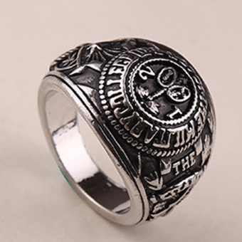 Hequ House of Cards ring Frank s Ring vintage retro antique goldand silver jewelry for men - intl