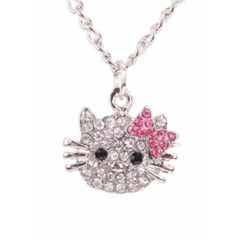 Hequ New Fashion Crystal Cat Rhinestone Hello Kitty necklaceBowknot KT Jewelry For Girls Necklace - intl