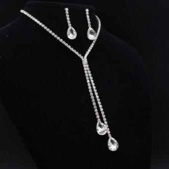 Hequ New Sparkling 4 Leaf Shape Dangling Wedding And EarringsBridal CZ Diamond Jewelry Sets For Wedding necklace Jewelry setSilver - intl - 3