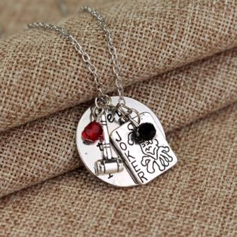 Hequ Suicide Squad Harley Quinn Necklace Hey there Puddin Letter Pendant Joker Card Hammer Crystals Cosplay Jewelry - intl