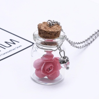 Hequ Vintage Luminous Glow In The Dark Flower Pendant NecklaceFluorescent Glass Wish Bottle Chain Necklace Gift - intl