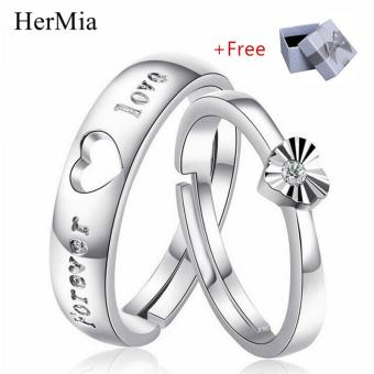 HerMia New CZ Wedding Rings for Women Men Silver Plated Couple Engagement Ring Jewelry Adjustable Ring Size ( Free Gift Box ) - intl