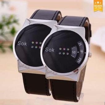 HHZF-A123 Couple's RetroStyle Leather Strap Watch (Black) BUY ONE TAKE ONE