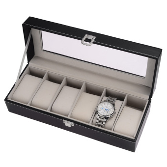 High-grade 6 Compartment Leather Watch Box Organizer Case Black - 2