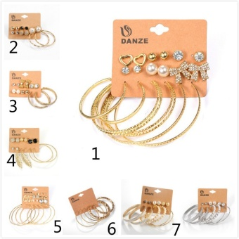 High Quality Elegant Crystal Pearls Heart Bow Stud Hoop Earrings Set Accessories Gifts Women Wings Star Alloy Earring Jewelry Stud Earring-Silver 6PCs/set Leaf - intl