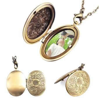 High Quality Store New Bronze Flower Pattern Photo Frame LocketPendant (Gold)