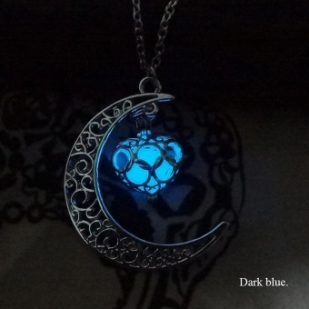 High Quality Store New Crescent Moon Heart Glow in the DarkNecklace Charming Jewelry Luminous Chain Dark Blue