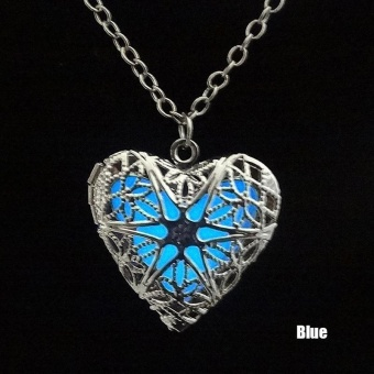 High Quality Store New Hollow Heart Pendant Glow In The Dark FairyLocket Necklace Charming Jewellery Blue Price Philippines