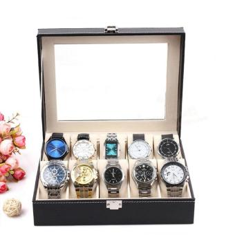 High Quality Store New Leather 10 Slots Wrist Watch Display BoxStorage Holder Organizer Windowed Case - 3