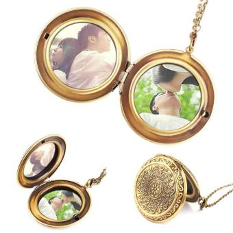 High Quality Store New Retro Woman Man Bronze Round Hollow Photo Frame Locket Pendant Necklace Gift