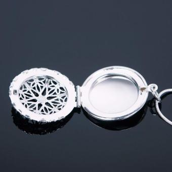 High Quality Store New Woman Silver Plated Round Hollow PhotoPicture Locket Pendant Necklace Chain - 3